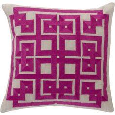 Linen Oatmeal/Raspberry Pillow