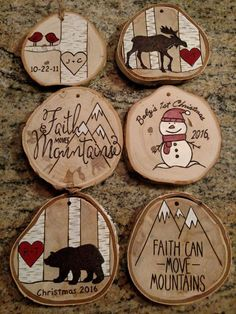 Custom made wood burned ornament. Send me the initials you would like in the heart and I will make your personalized ornament. Choose bear or moose at check out. Finished product will look similar to picture but not identical due to natural variations in wood. See the last photo for examples of how the wood slices can vary in shape, size, markings and bark. These ornaments measure approximately 3-4 in diameter and 1/4 to 1/2 thick. Wood is the gift for the fifth wedding anniversary!... More