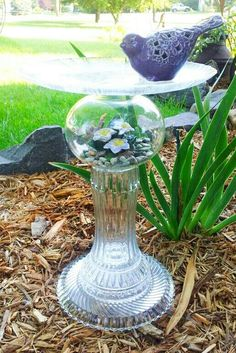 "Elegant and gracious bird bath. ""The Angelina"" is garden art sculpture made with repurposed glass. Glass Garden Flowers, Glass Garden Art, Glass Art, Garden Totems, Wine Glass, Glass Bird Bath, Glass Birds, Garden Whimsy, Garden Deco"
