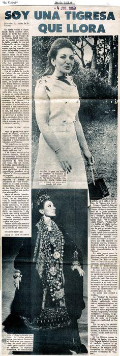 """María Callas """"La tigresa que llora"""". Publicado el 4 de julio de 1969."""