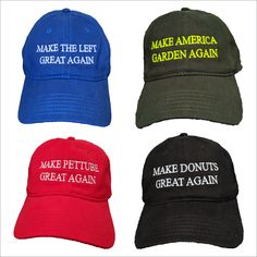 We have a wide variety of these awesome hats with dozens of beautiful thread colors to add that special touch, just like these particularly unique creations from some of our very satisfied customers!  All orders large and small have a very quick turn around, don't miss out on this great opportunity!    #Hats #Caps #Customize #CreateYourOwn #GreatAgain #TheLeft #Donuts #Pettube #Personalize #Colorful #Statement #YourTextHere #Farming #Gardening #Embroidery #MAGA #Gifts