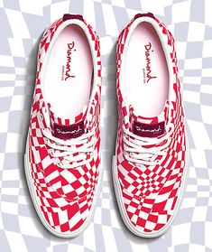 Upgrade your daily look with the Avenue QS red and white shoes from Diamond Supply Co. Checkerboard Pattern, Diamond Supply Co, Profile Design, Daily Look, White Shoes, Shoes Online, Shoe Boots, Red And White, Lace Up