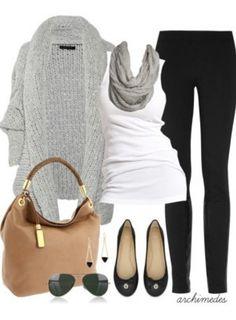 Black maxi skirt, white tee, gray shrug, black flats, camel bag, gray scarf