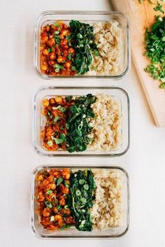 Curried Chickpea Meal Prep Bowls -- These vegan curried chickpea bowls make meal prepping for the week a breeze... The chickpeas are paired with garlicky spinach and brown rice for an easy meal that's absolutely delicious and filling!