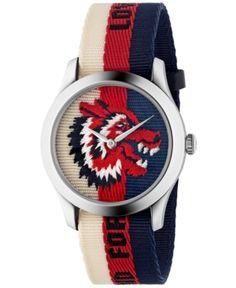 c139414c8a8 Unisex Swiss Le Marché des Merveilles Cream-Red-Blue Sylvie Web Nylon Strap  Watch 38mm