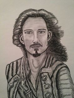 Pirates of Carribbean Orlando Bloom 18x24  art print by Holly Hill