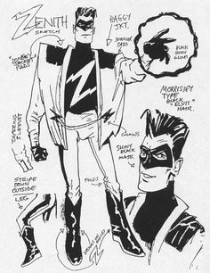 "stomm2000ad:  Brendan McCarthy's original designs for Grant Morrison's ""down-to-earth"" superhero,Zenith."