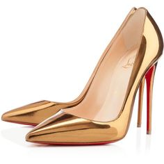Christian Louboutin So Kate (€550) ❤ liked on Polyvore featuring shoes, pumps, heels, christian louboutin, sapatos, bronze, sky high, spiked high heel shoes, high heel pumps and high heel stiletto pumps #goldstilettoheels
