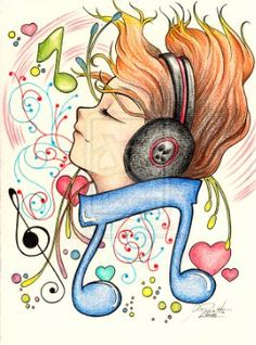 Music by GisaPizzatto Music Drawings, Music Artwork, Cool Art Drawings, Art Drawings Sketches, Cartoon Drawings, Musik Illustration, Music Pictures, Music Wallpaper, Art Plastique