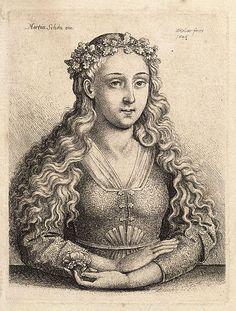 Frau mit einem Kranz aus Eichenlaub, nach Martin Schongauer. (1448-1491, Germany)