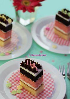 Neapolitan Individual-sized Cake by theresahelmer.deviantart.com on @deviantART