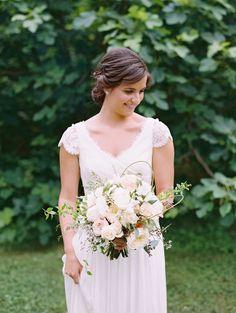J Crew wedding dress / Elegant Garden Wedding with Muted Tones