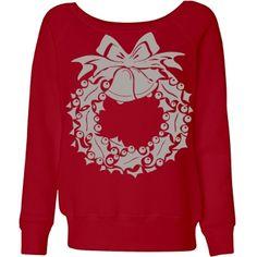 #SilverBellsWreath #Red #SlouchyWideneckSweatshirt by #MoonDreamsMusic
