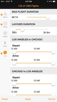 Screenshot of Kayak iOS app filters