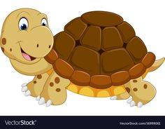 Cute turtle cartoon running vector image on VectorStock Safari Animals, Animals For Kids, Animals And Pets, Cute Animals, Animal Sketches, Animal Drawings, Turtle Dinosaur, Cute Turtle Cartoon, Sunday School Crafts For Kids