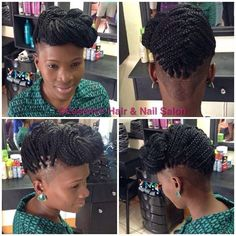 Trendy Braids With Weave Mohawk Mohawk Styles, Curly Hair Styles, Braids With Shaved Sides, Braids With Weave, Shaved Side Hairstyles, Weave Hairstyles, Natural Hair Cuts, Natural Hair Styles, Bad Hair