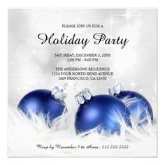 an elegant holiday party invitation template with blue christmas ornaments on billowy feathers against a festive