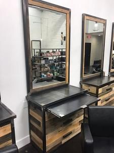 Custom Industrial Salon Station – This reclaimed wood salon station is custom made, allowing you to choose the size, finish, hardware and more. Volume discounts available!