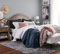 Thoughts on this rug? Look at the price for a Zahara Synthetic Rug - Blue Pottery Barn Blue Gray Bedroom, Blue Bedroom Decor, Bedroom Colors, Blue Master Bedroom, Navy Blue Bedrooms, Girls Bedroom, Bedroom Apartment, Home Bedroom, Modern Bedroom