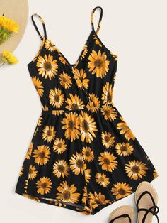 Surplice Neck Sunflower Print Cami Romper Check out this Surplice Neck Sunflower Print Cami Romper on Shein and explore more to meet your fashion needs! Cute Girl Outfits, Cute Summer Outfits, Cute Casual Outfits, Pretty Outfits, Cute Summer Rompers, Girls Fashion Clothes, Teen Fashion Outfits, Outfits For Teens, Girl Fashion