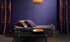 Royal purple silk wall covering