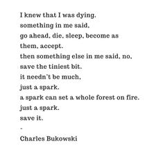 "save the tiniest bit. just a spark. a spark can set a whole forest on fire. save it"" -Charles Bukowski Poem Quotes, Words Quotes, Life Quotes, Sayings, Spark Quotes, The Words, Quotes Bukowski, Charles Bukowski Quotes Love, Ernest Hemingway Poems"