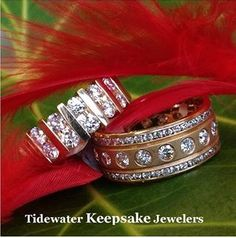 Diamond wedding bands. #diamondbands   #anniversaryband www.tidewaterkeepsakejewelers