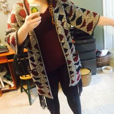 """Long Fringe Knit Burgundy & Navy Boho Cardigan Long cardigan, in perfect condition, worn 3x Max!! Size M, I am about 5'4"""" modeling it. Please ask if you have any questions. Forever 21 Sweaters Cardigans"""