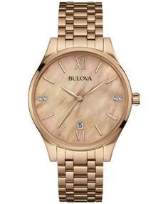 Bulova Women's Diamond Accent Rose Gold-Tone Stainless Steel Bracelet Watch 36mm 97P113