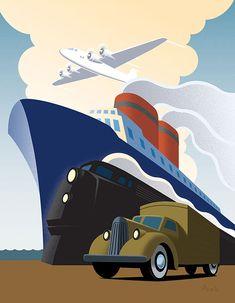 'Retro Transportations' by Jun Park - Illustration from Canada