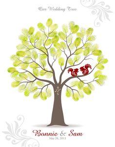 Fingerprint Wedding Tree Guest Book Poster  by TJLovePrints