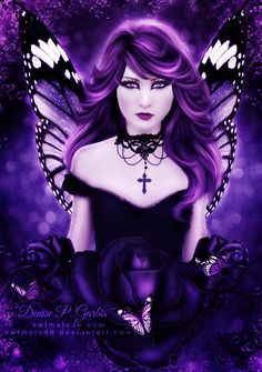 Fairy Art by Denise P. Purple Love, All Things Purple, Shades Of Purple, Purple Art, Gothic Angel, Gothic Fairy, Dark Fantasy, Fantasy Art, Illustration Fantasy