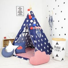 This teepee tent brings the fireworks to you! Red, white, and blue colors are creatively arranged with an array of stars and stripes to offer your little one a tent with a certain patriotic flair. Ideal for little ones who want to read up on American history, how fireworks are made, or