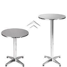 241155df340e7a TecTake Table haute de bar aluminium hauteur réglable 70 ou 110 cm Ø 60cm -  Tube