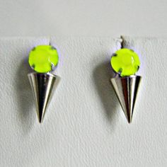 Spike Stud Earrings Neon Yellow by LO by Love Obsessed