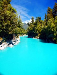 Turquoise glacier melt water near Ross, South Island, New Zealand