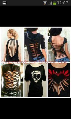Best 12 Back cut options from to No 6 – SkillOfKing. Diy Cutout Shirt, Cutout Shirts, Diy Cut Shirts, T Shirt Diy, Cut Clothes, Sewing Clothes, T Shirt Weaving, Cut Shirt Designs, Cut Up T Shirt