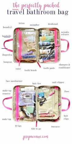 Travel Bathroom Bag organzie organized travel cosmetics makeup flying trip bathroom how to pack bag essentials whats in my DIY cases large small jet set best whats in my. Travel Packing Checklist, Travel Bag Essentials, Road Trip Essentials, Travelling Tips, Beauty Essentials, Travel Bags, Packing Hacks, Suitcase Packing Tips, Packing Tips For Vacation