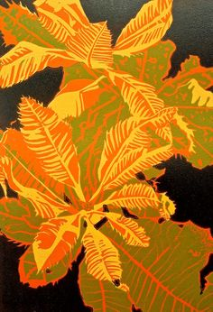 Exotic leaves reduction linocut in five colours