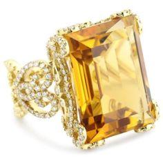 Katie Decker 18k Citrine and Diamond Ring<3