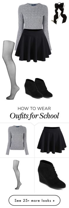 """School #1"" by sadschoolgirl on Polyvore featuring Polo Ralph Lauren, WithChic, Arizona, Wolford and Anthropologie"