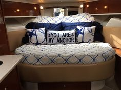 View Our Best Boat Bedding Package Examples & Fabric Choices Sailboat Decor, Sailboat Interior, Sailboat Living, Yacht Design, Boat Design, Boat Bed, Sea Ray Boat, Small Yachts, Best Boats