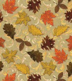 Autumn Inspirations Fabric-Scroll Leaves  Metallic
