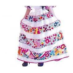 Falda en telar comercial con bordados con hilo de seda.