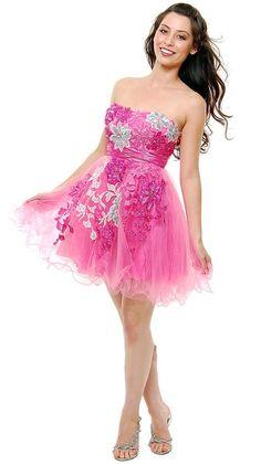Pink Silver Floral Tulle Short Cocktail Dress #discountdressshop #pinkdress #strapless #tulle #cocktaildress Hot Pink Dresses, Short Cocktail Dress, Designer Wedding Dresses, Tulle, Passion For Fashion, Dresser, Strapless Dress, Satin, Prom