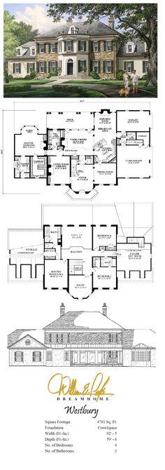 61 Ideas house ideas exterior floor plans master suite for 2019 Floor Plans 2 Story, House Plans One Story, Dream House Plans, Open Floor Plans, Sims Building, Building Design, Building A House, Building Ideas, The Plan