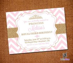 Little Princess Birthday Invitation Pink Gold Glitter Invitation 1st First Birthday Pink Gold Chevron Pattern- Digital File on Etsy, $10.00