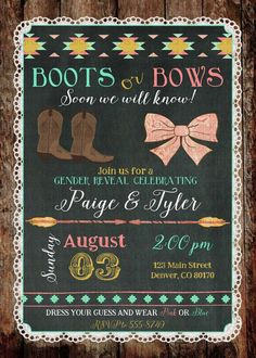 gender reveal invitation boots or bows lace by katiedidesigns