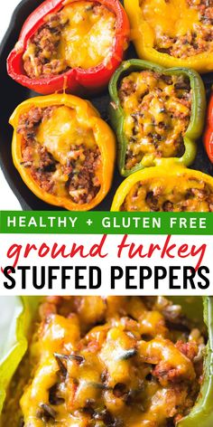 Ground Turkey Stuffed Peppers, Stuffed Peppers Healthy, Recipe For Stuffed Peppers, Cooking Stuffed Peppers, Healthy Turkey Recipes, Gluten Free Recipes For Dinner, Healthy Ground Chicken Recipes, Hamburger Recipes