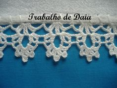Φωτογραφία: Trabalho nº 15 - Pano de prato com bico de crochê. Crochet Edging Patterns, Crochet Lace Edging, Crochet Borders, Crochet Doilies, Crochet Stitches, Crochet Box, Love Crochet, Filet Crochet, Learn To Crochet